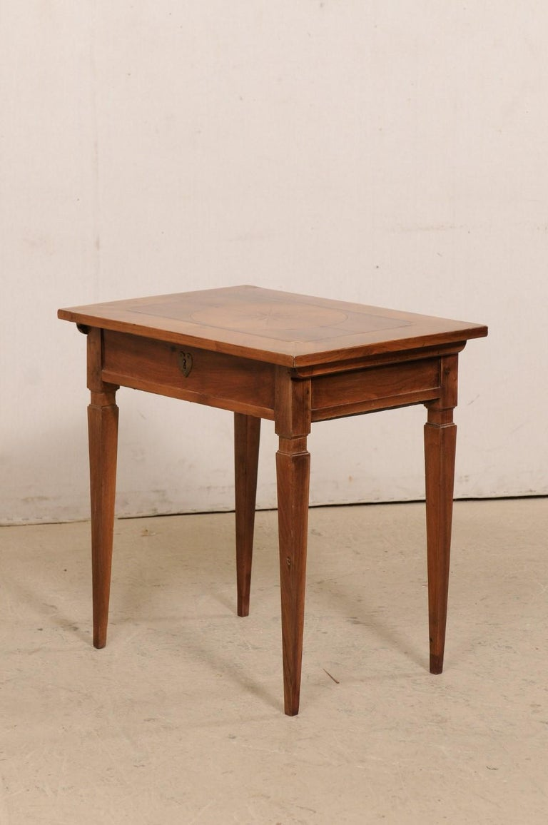 19th C. Italian Writing Desk w/Decorative Inlay & Sliding Top for Hidden Storage For Sale 4