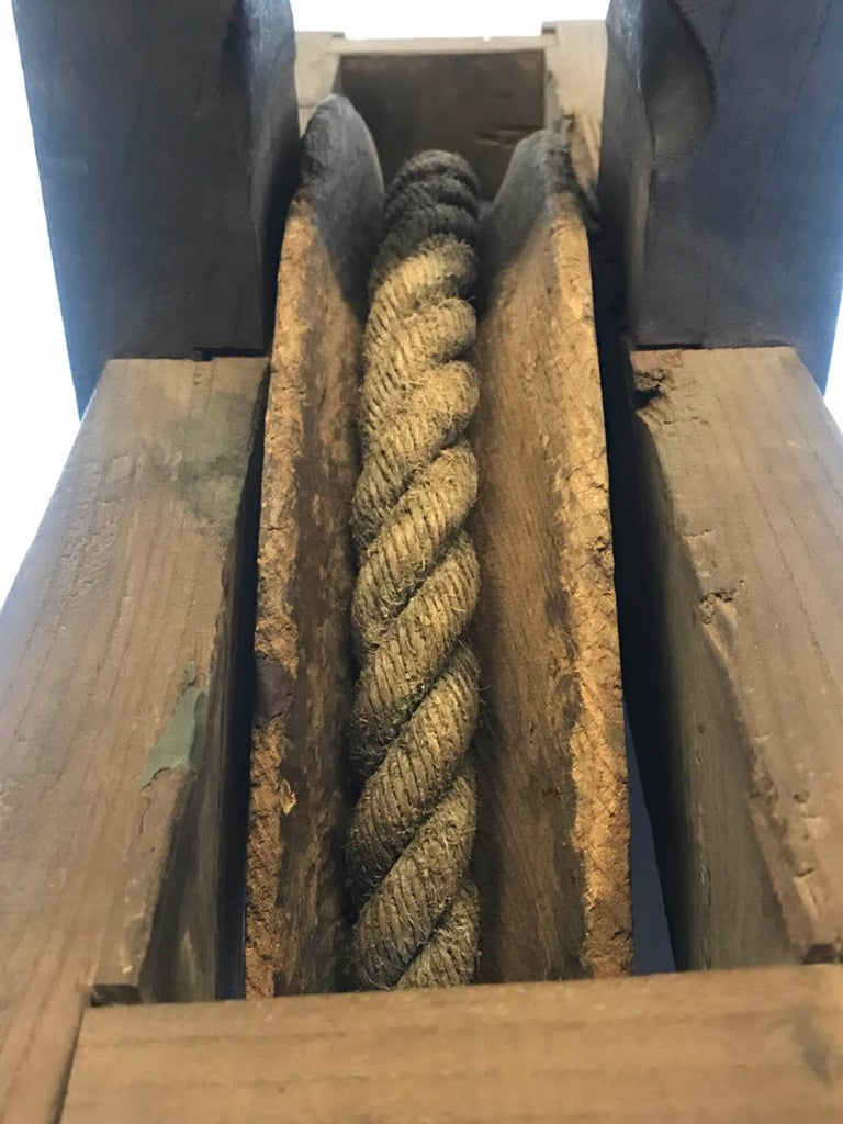 19th Century Japanese Iron Wood and Rope Pulley Wheel, Kassha For Sale 1
