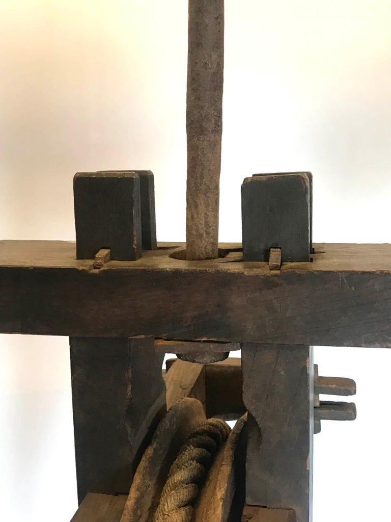 19th Century Japanese Iron Wood and Rope Pulley Wheel, Kassha For Sale 2