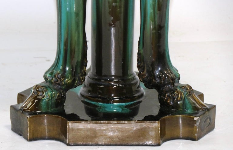 Ceramic 19th Century Jardinière and Pedestal by Clement Messier For Sale