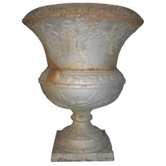 19th Century Large Cast Iron Garden Urn