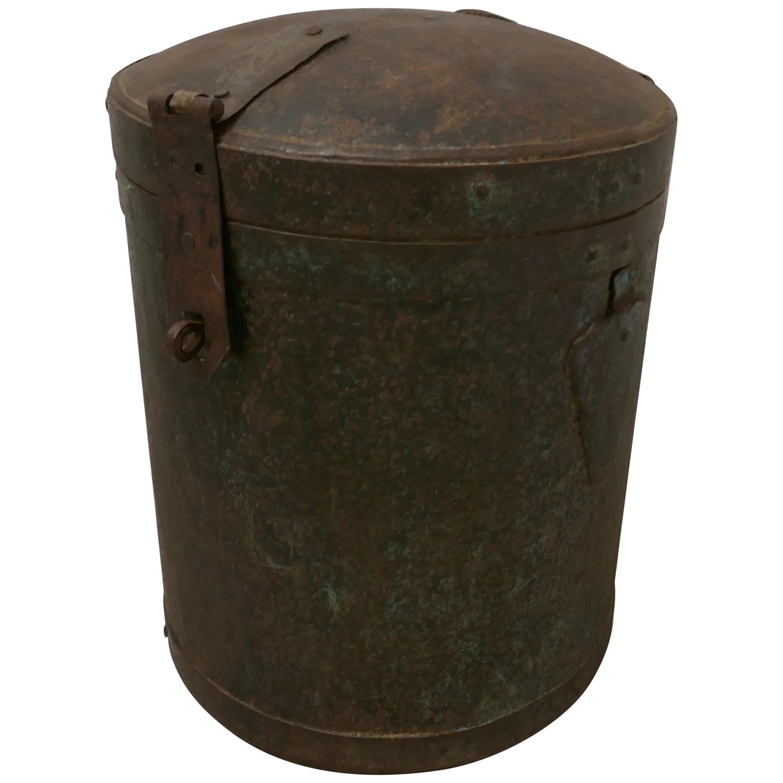 19th Century Large Heavy Metal Lockable Grain Storage Bin