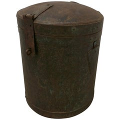 19th Century Large Heavy Metal Lockable Grain Storage Bin