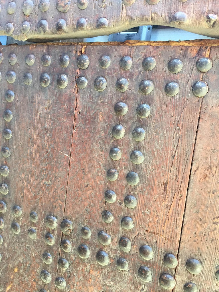 19th Century Large Moroccan Ryad Studded Moorish Antique Door For Sale 5