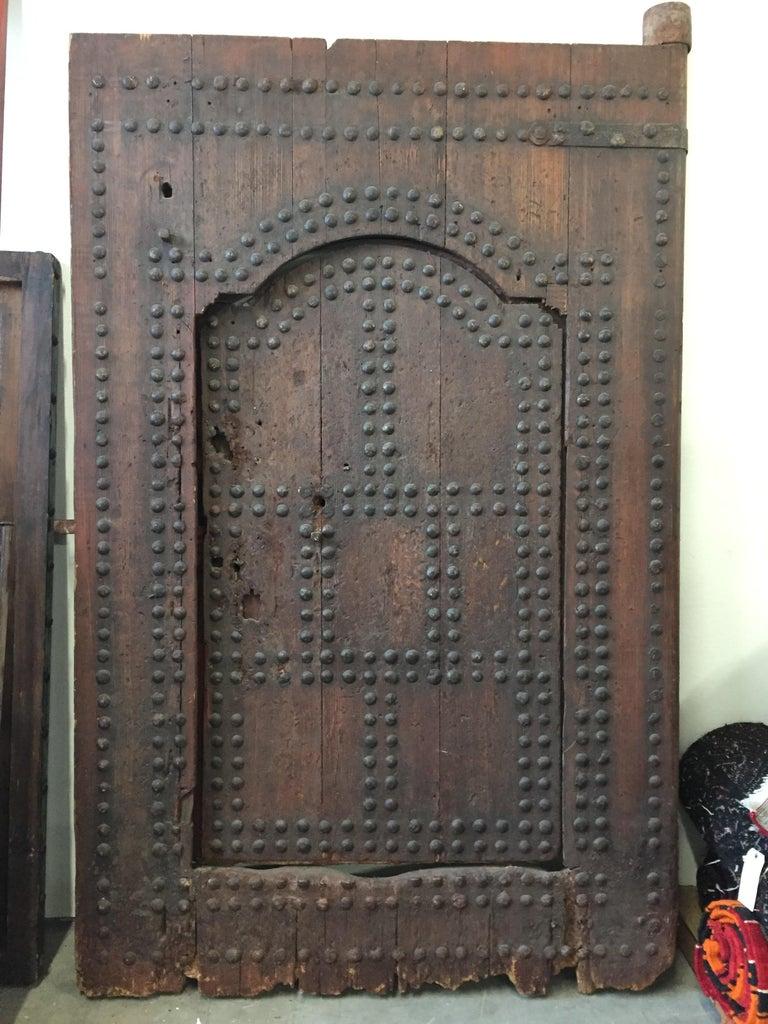 19th Century Large Moroccan Ryad Studded Moorish Antique Door For Sale 11