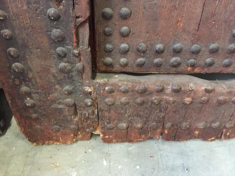 19th Century Large Moroccan Ryad Studded Moorish Antique Door For Sale 13