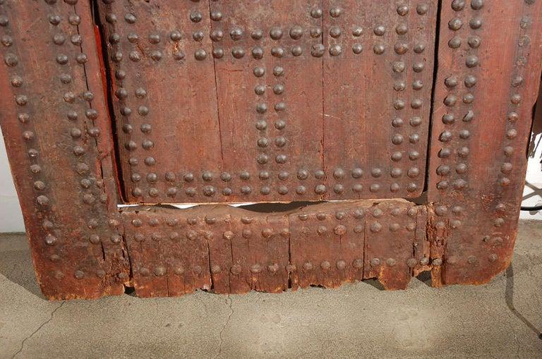 19th Century Large Moroccan Ryad Studded Moorish Antique Door For Sale 2