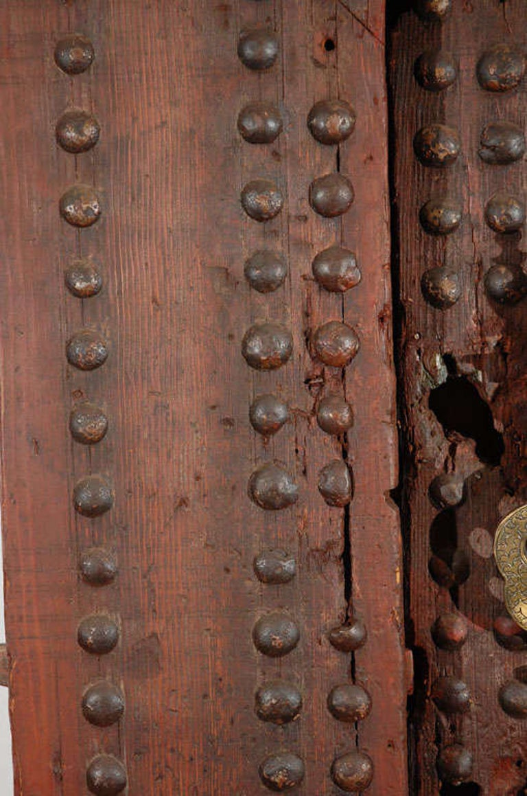 19th Century Large Moroccan Ryad Studded Moorish Antique Door For Sale 3