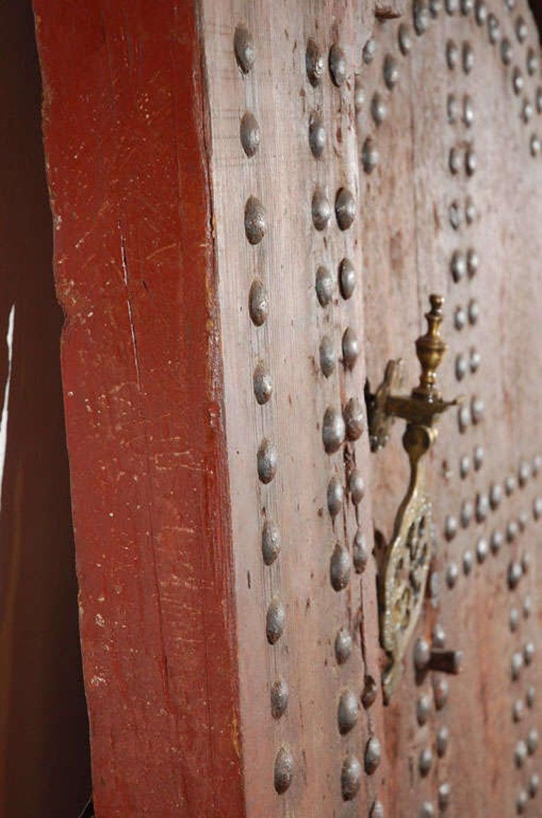 19th Century Large Moroccan Ryad Studded Moorish Antique Door For Sale 4