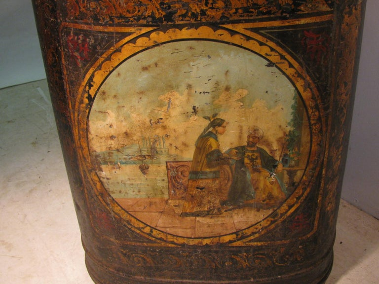 Folk Art 19th Century Large Store Tea Tin Hand Painted Parnall & Sons Bristol, England For Sale