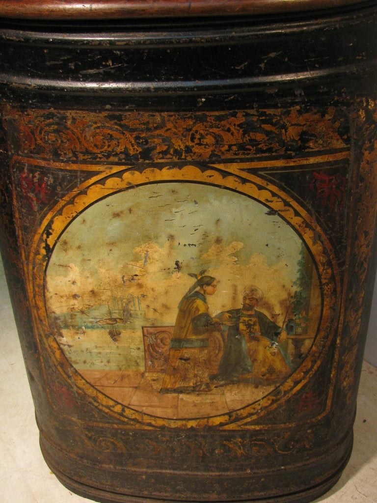 British 19th Century Large Store Tea Tin Hand Painted Parnall & Sons Bristol, England For Sale