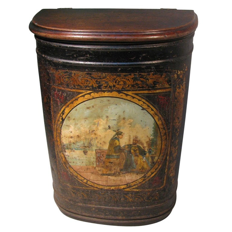 19th Century Large Store Tea Tin Hand Painted Parnall & Sons Bristol, England For Sale