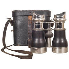 19th C. Leather and Chrome Field Binoculars & Case, c.1880
