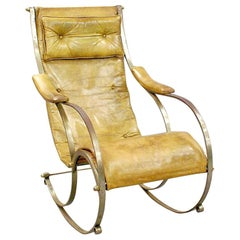 19th Century Leather Upholstered Metal Rocking Chair