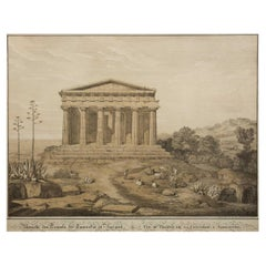 """19th C Lithograph """"View of the Temple of Concordia, Agrigente"""" after Gaertner"""