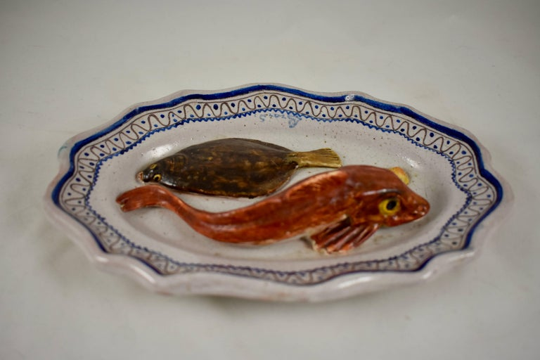 French Léon Brard Trompe L'oeil Palissy Wall Plaque, Flounder on Rouen Plate For Sale