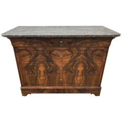 19th Century Louis Philippe Burr Walnut Marble Top Commode Chest of Drawers