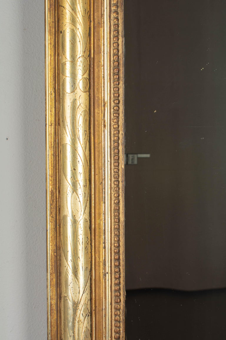 19th Century Louis Philippe Style Gilded Mirror with Oval Crest For Sale 1