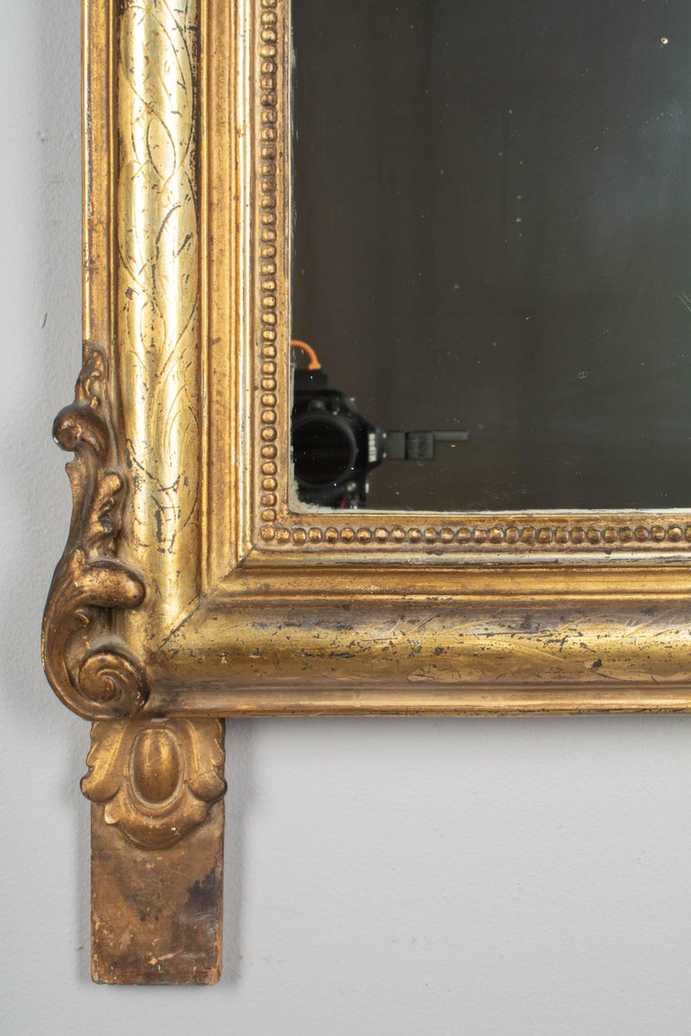 19th Century Louis Philippe Style Gilded Mirror with Oval Crest For Sale 3