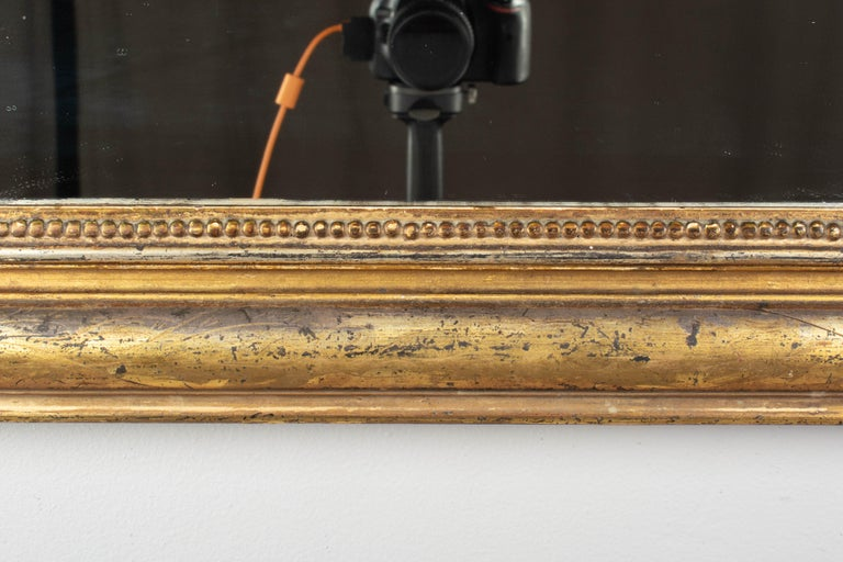 19th Century Louis Philippe Style Gilded Mirror with Oval Crest For Sale 5