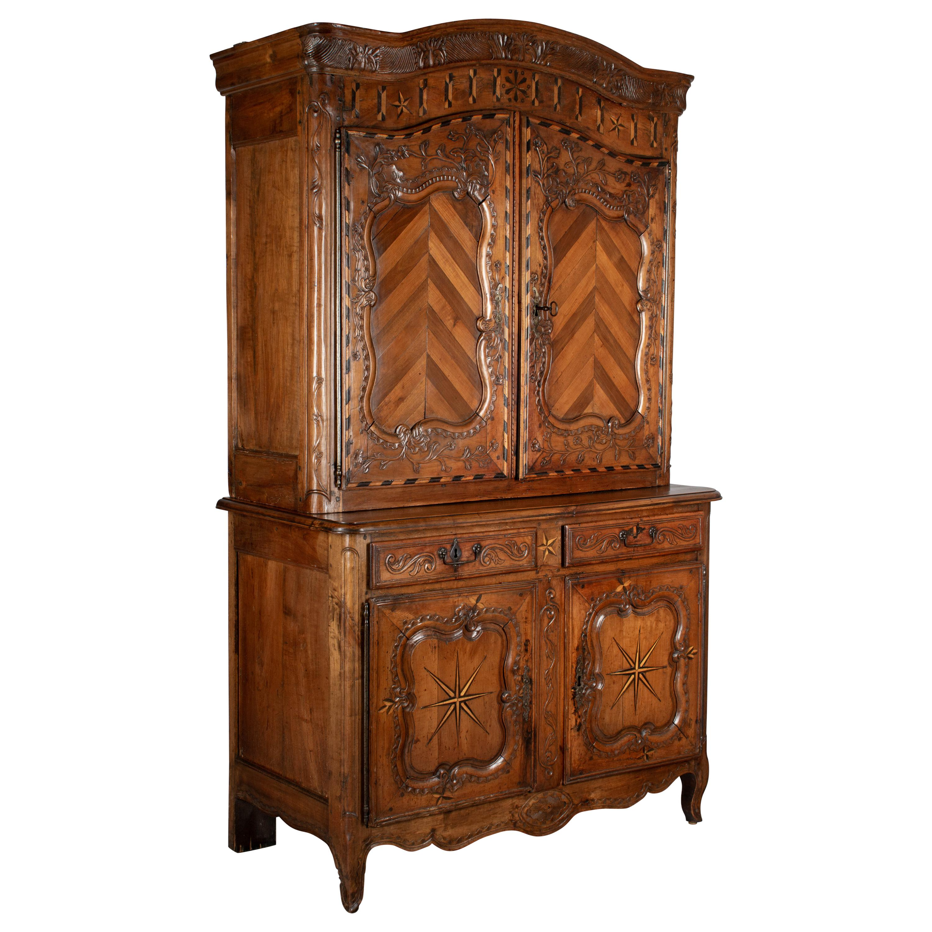 19th Century Louis XV Style Buffet à Deux Corps or Cupboard