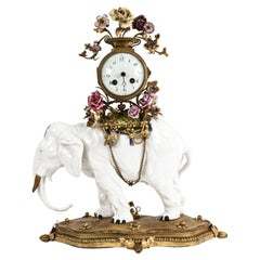 19th C. Louis XV-Style Elephant Mantel Clock