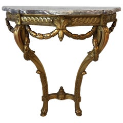 19th Century Louis XVI French Giltwood Demilune Table with Marble Top