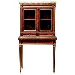 Louis XVI Style Mahogany Bonheur du Jour Secretary with Brass Detailing