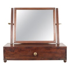 19th C. Mahogany and Bronze Table Top Vanity Shaving Mirror, c.1840-1870