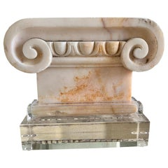 19th C. Marble Capital on Lucite Base