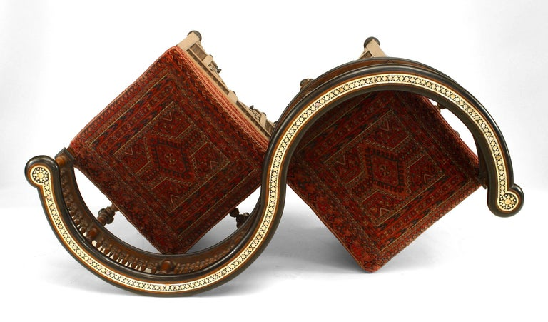 19th Century 19th c. Middle Eastern Moorish Style Walnut Carved Tête-à-tête For Sale