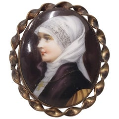 19th Century Miniature Portrait of a Nun on Porcelain with Brooch Frame
