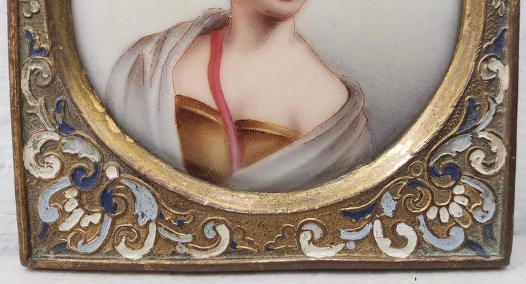 Italian 19th Century Miniature Portrait on Porcelain  For Sale