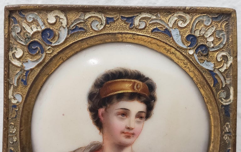 Hand-Painted 19th Century Miniature Portrait on Porcelain  For Sale