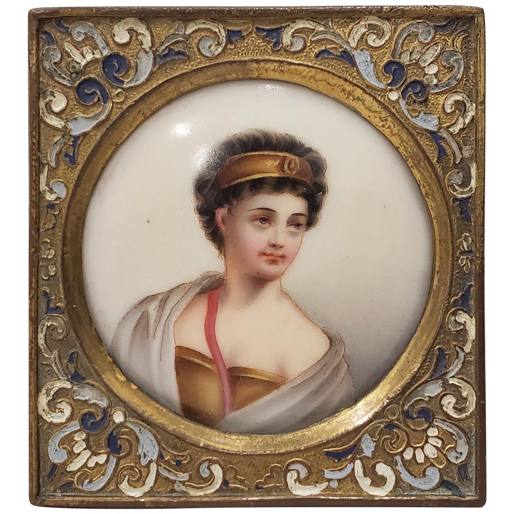 19th Century Miniature Portrait on Porcelain