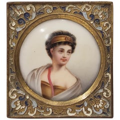19th Century Miniature Portrait on Porcelain
