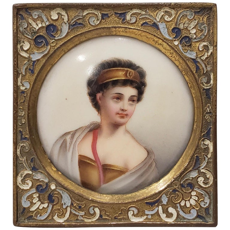 19th Century Miniature Portrait on Porcelain  For Sale