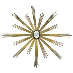 19th Century Monumental Italian Giltwood Sunburst Mirror
