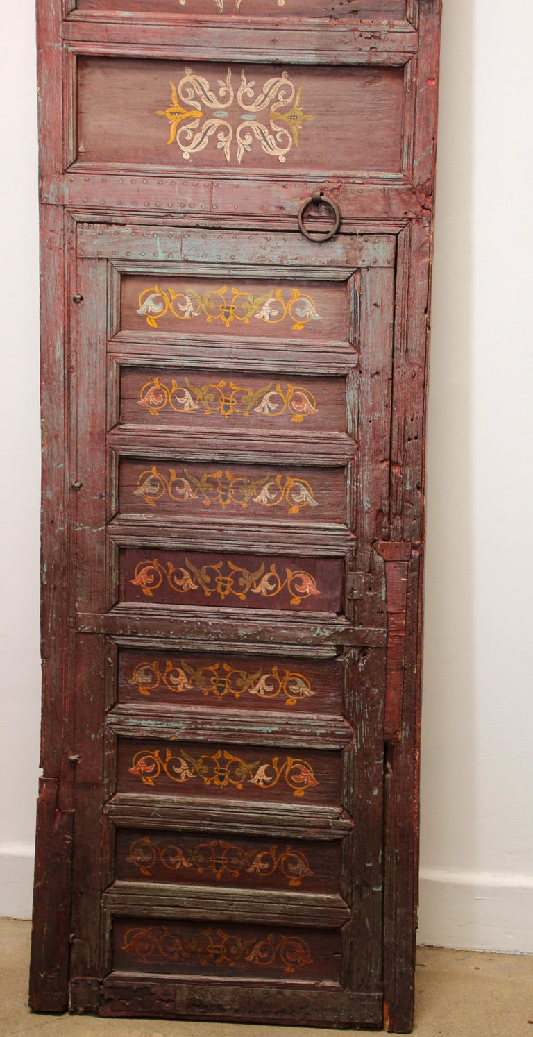 19th Century Moroccan Antique Double Door with Hand Painted Moorish Designs For Sale 7