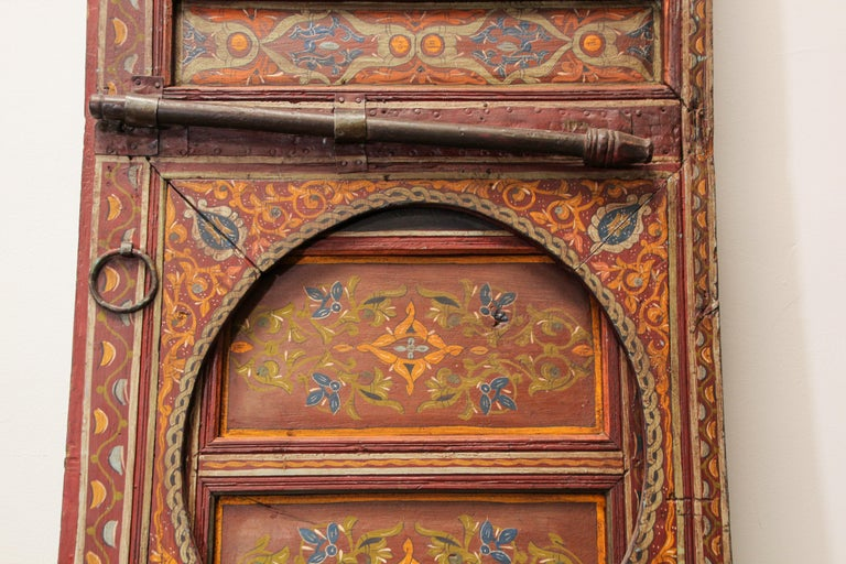 19th Century Moroccan Antique Double Door with Hand Painted Moorish Designs For Sale 8