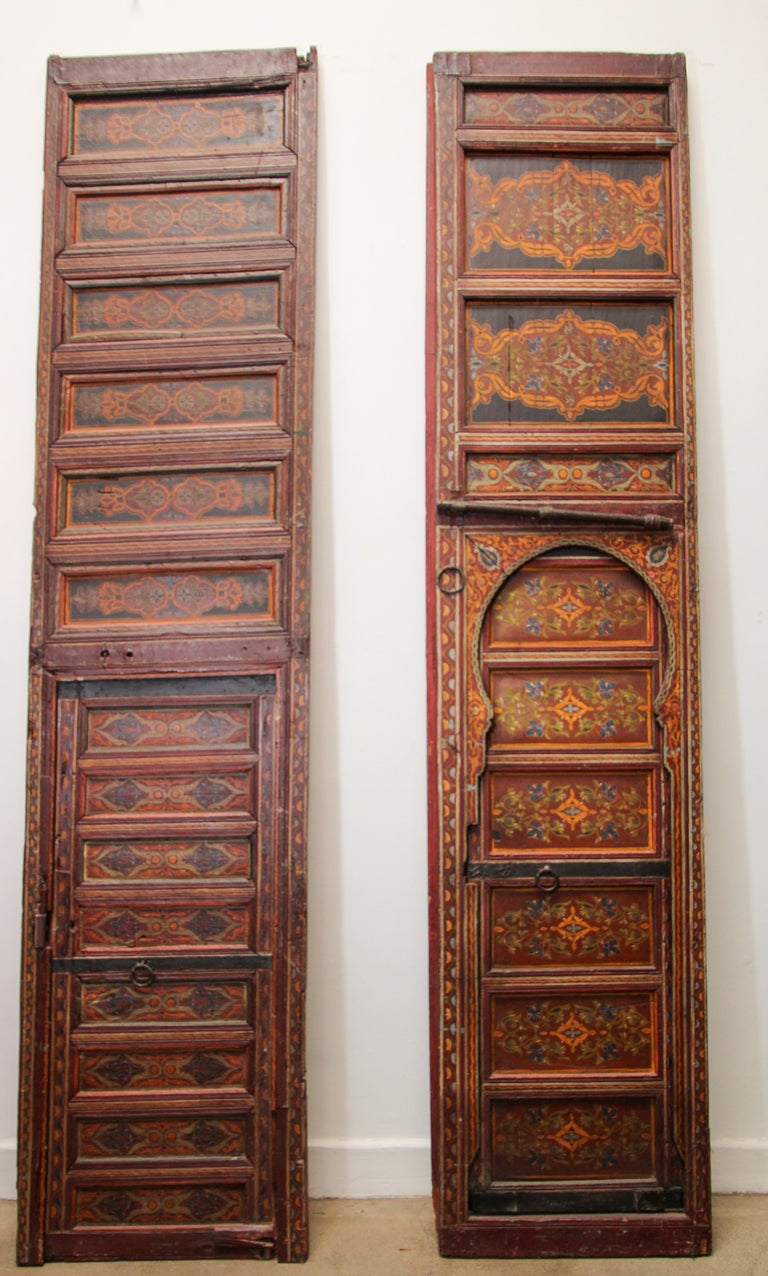 19th Century Moroccan Antique Double Door with Hand Painted Moorish Designs For Sale 9
