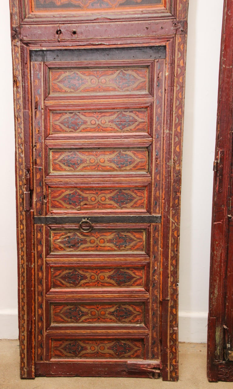 19th Century Moroccan Antique Double Door with Hand Painted Moorish Designs For Sale 11