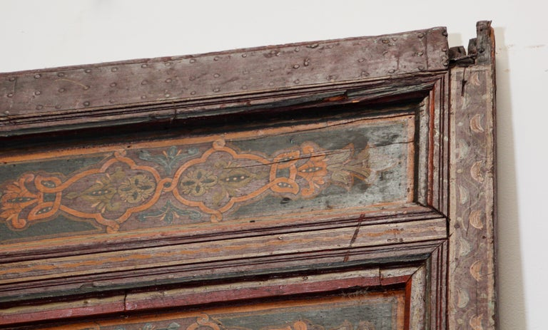 19th Century Moroccan Antique Double Door with Hand Painted Moorish Designs For Sale 12