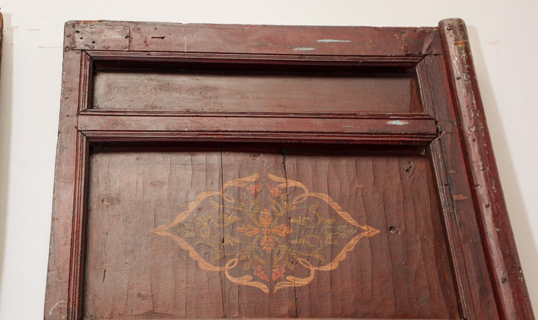 19th Century Moroccan Antique Double Door with Hand Painted Moorish Designs For Sale 13