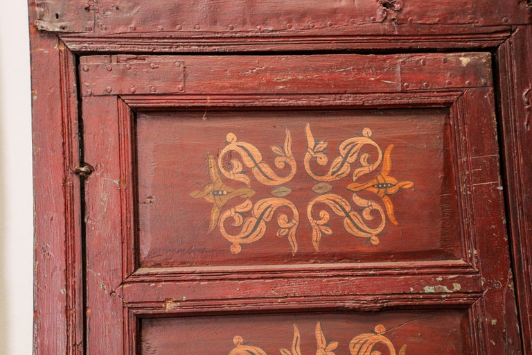 19th Century Moroccan Antique Double Door with Hand Painted Moorish Designs For Sale 14