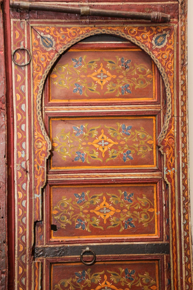 Wood 19th Century Moroccan Antique Double Door with Hand Painted Moorish Designs For Sale