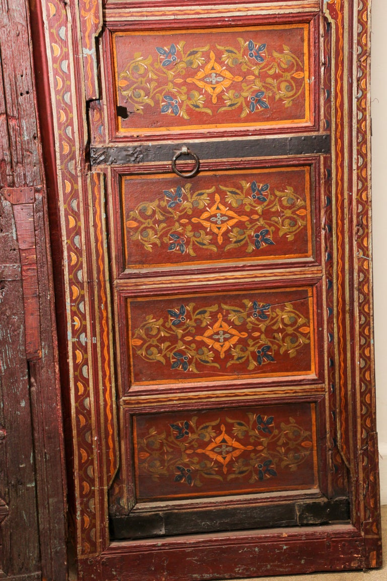 19th Century Moroccan Antique Double Door with Hand Painted Moorish Designs For Sale 1