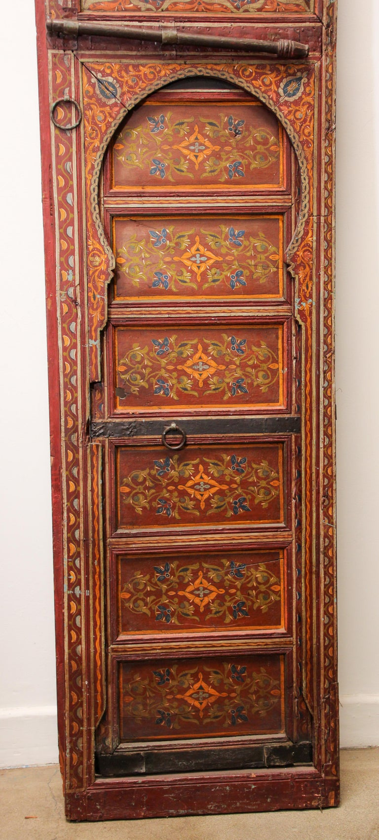 19th Century Moroccan Antique Double Door with Hand Painted Moorish Designs For Sale 4