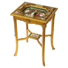 19th C. Napoleonic Royal Vienna Giltwood Side Table w/ Inlaid Porcelain Plaques