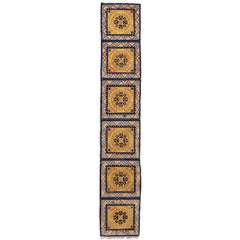 19th C. Ningxia Yellow and Blue Chinese Handmade Geometric Medallion Wool Runner